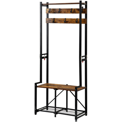 Industrial Entryway Hall Tree Folding Coat Rack Shoe Bench with 2-Tier Storage Shelf 7 Removable Hooks for Living Room Bedroom Hallway 3-in-1 Design Rustic Brown