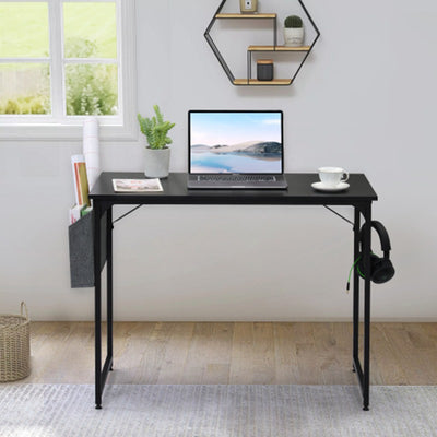 Simple Compact Laptop Desk with Extra Storage Bag/Hook Student Study Writing PC Table Small Home Office Workstation