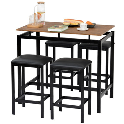Modern Bar Table and 4 Stools Set with Padded Seat for Kitchen Bar House