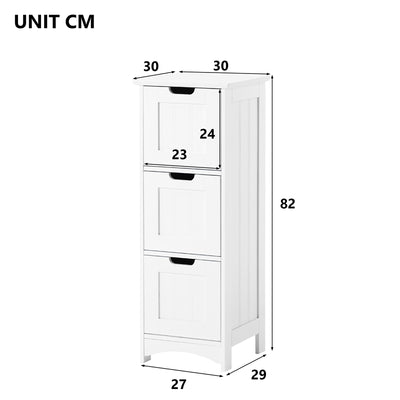 White Nordic Bathroom Cabinet Floor Standing Storage Cupboard Chest of Drawers
