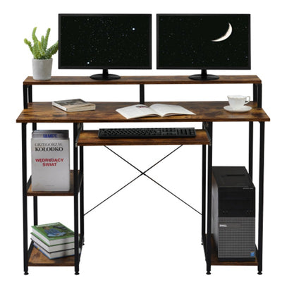 4 Layer Computer Desk with Shelf Compact Laptop PC Keyboard Table Small Spaces Study Workstation Multifunctional Storage Home-Office Desk