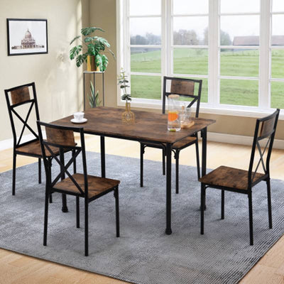 Dining Table and Chairs Set of 4 Industrial style Retro Kitchen Dining Table Set