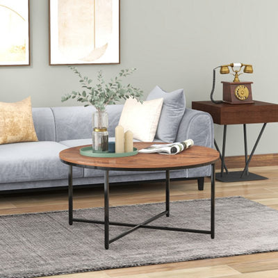 Industrial Brown Round Coffee Table Cocktail Tea End Table, 89x46cm