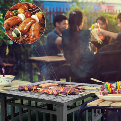 Garden Wood Charcoal Square Fire Pit Black Steel Patio Heater Burner BBQ Grill