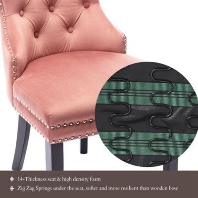 Luxury Velvet Ergonomics Dining Chair Set-Thick Foam Seat Chrome Knocker Nailhead Trim Button Decor Accent Chair