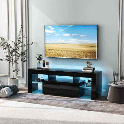 "60"" Led TV Stand Modern TV Unit Cabinet Table with Storage and 16 Colors Remote Led Rgb Lights 130 x 35 x 45 cm"