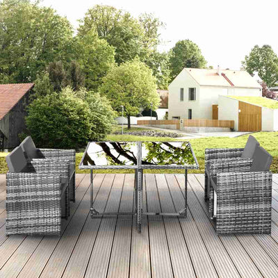 Rattan 5pcs Furniture Sets 4 Seater Chair with Dining Table