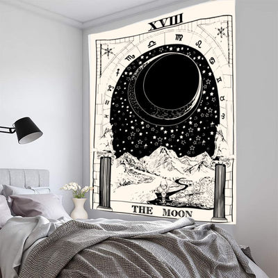 Mysterious Medieval Tarot Tapestry Europe Divination Wall Hanging Black and White Home Room Decoration