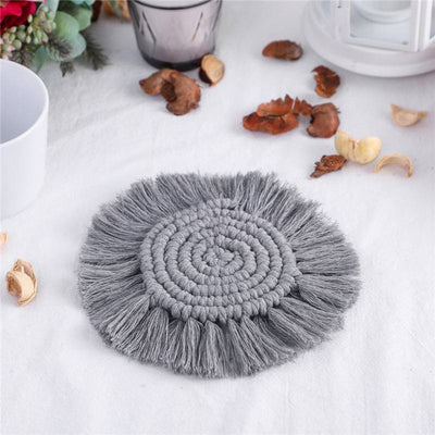 Bohemian Handmade Gray Tassel Coasters Cotton Cord Insulation Table Mat