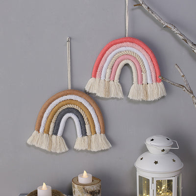 12*15cm Rainbow Wall Hanging Hand-Woven with Clouds Tassel for Nursery Kids Room Decor Girls Gift Home Decoration