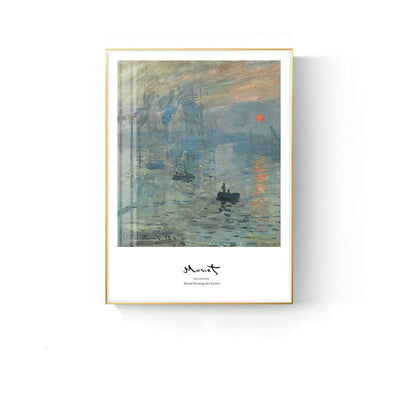 Monet Style-Sunrise 30*40cm Famous Painting Oil Painting Abstract Landscape Character Bedroom Wall Hanging Art Mural