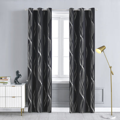 Black 85% Blackout Curtains Foil Printed Thermal Insulated Curtains Window Treatment Eyelet Door Curtains