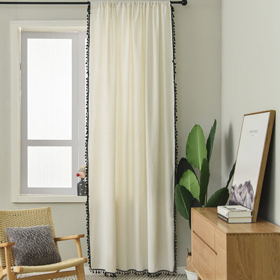 Minimalist 2 Panels Rod Pocket Window Curtains Sheer Black White Thick Cotton Linen Tassel Draperies for Living Room Bedroom