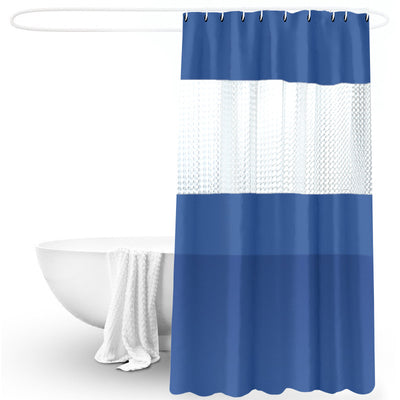 180*200cm Blue Thick Stitching Shower Curtain Bathroom Waterproof Peva Semi-permeable Bath Curtains