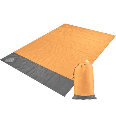 Orange Blue Lightweight 140*200cm Foldable Picnic Blanket with Pocket Large Waterproof Backing Washable Portable Rug Mat Beach Camping Grass Travel