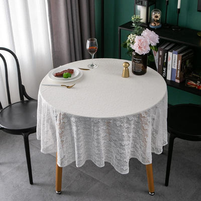 New French retro Nordic pastoral nostalgia style, cotton thread, lace, four-leaf clover round tablecloth cover towel