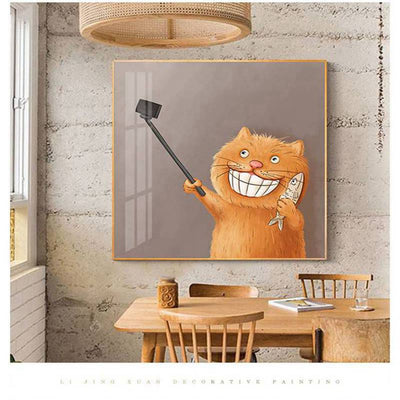 Funny Cat-Fighting Cat Framed Printings Cute Comics Kitty Cartoon Animal Kid Bedroom Corridor Bedside Modern Wall Hanging Art