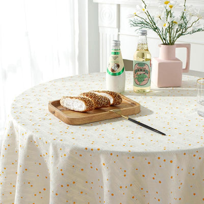 Round Simple Rural Tablecloth for Circular Cotton Linen Table Cover for Parties Holiday Dinner Table