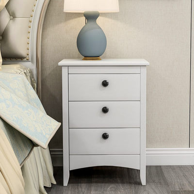 Contemporary White 3 Drawer Compact Bedside Cabinet Nightstand 45x36x61cm