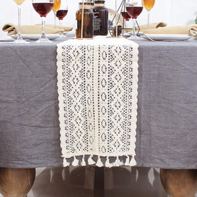 Table Runner Cotton Crochet Lace Table Runner with Tassels Vintage Wedding Table Runner Bohemians Dining Room Style for Wedding Bridal Dining Table
