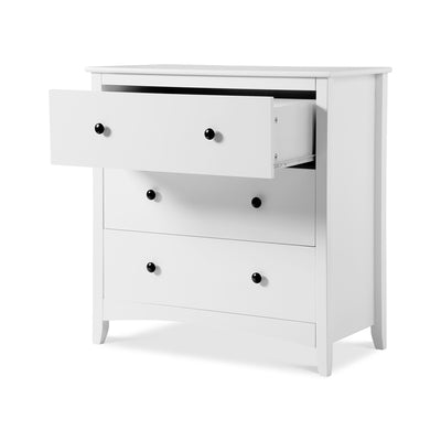 White 3 Drawer Wide Bedside Cabinet Nightstand 80x41x84cm