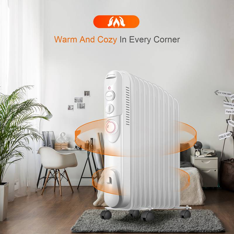 2.5KW 3KW Oil Filled Radiator With Timer Electric Thermostat 9/11 Fin Heater
