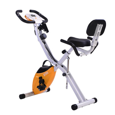10 Level Folding Magnetic Exercise Bike Indoor Fitness Equipment - Stationary Upright Gym Cycle X Bike Trainer for Home Workout and Cardio