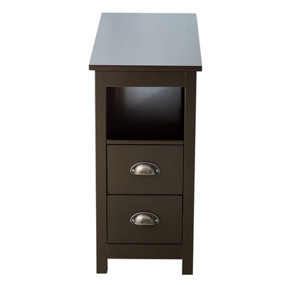 2 Drawers Double Tier Side Table Storage Shelves Living Room Bedroom