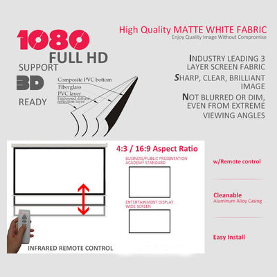 "120"" 4:3 Electric Motorized Projector Screen Matte White with Remote Control, HD/3D/1080P TV DVD Home Theatre/Office/Cinema"