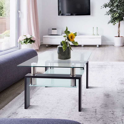 Modern Glass Clear Coffee Table,Modern Side Center Tables for Living Room, Living Room Furniture