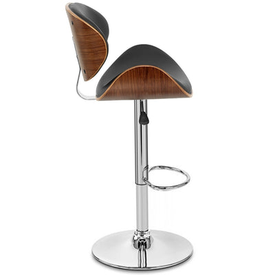 Adjustable Swivel Barstool Dining Chair Modern Wooden Frame Leather Padded