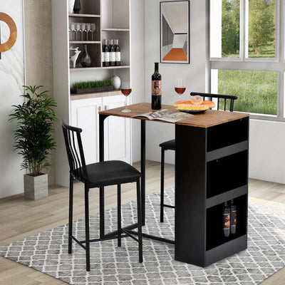 3-Piece Bar Table and Stool Set with 3 Storage Shelves Space-Saving Kitchen Dining Table and Chairs