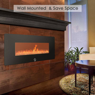 1400W Wall Mounted Electric Fireplace Remote Control LED Heater With Timer