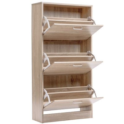 3-Drawer Wooden Shoe Storage Pull Down Cabinet Organiser