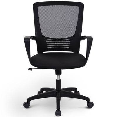 Mesh Mid Back Swivel Office Chair Adjustable Armrest Ergonomic Computer Lumbar Support Sit
