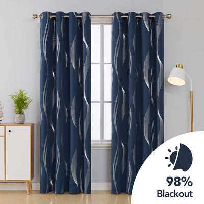 Navy 85% Blackout Curtains Streamline Foil Printed Thermal Insulated Curtains Window Treatment Eyelet Curtains