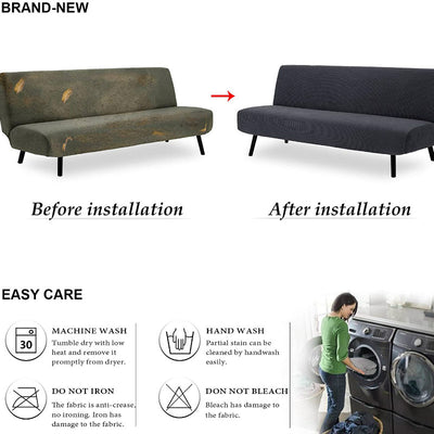 Dark Green Sofa Cover Waterproof Folding Solid Color Elastic Thickening