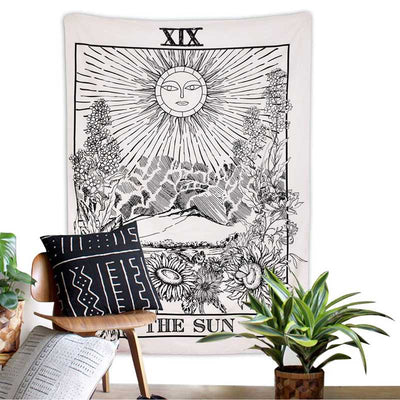 Mysterious Medieval Tarot Tapestry Moon Star Sun Europe Divination Wall Hanging Black and White Home Decor