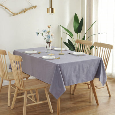 Simple Rectangularly Solid Color Washed Cotton Tablecloth