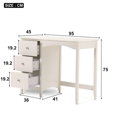 Cream White Dressing Desk Office Desk WIth 3 Drawers