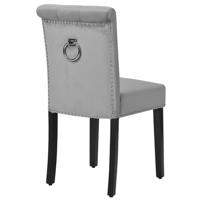 2Pcs Velvet High Back Chair Nailhead Trim Silver Metal Ring Upholstered Dining Chairs