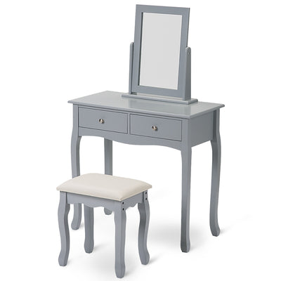 Dressing Table Set with Mirror and Stool Makeup Desk Dresser Bedroom