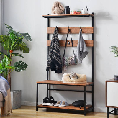 Free Standing Hall Tree with Hooks Coat Tree Shoe Storage 150cm