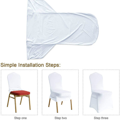 Red Simple Wedding Banquet Elastic Chair Cover Hotel Chair Cover