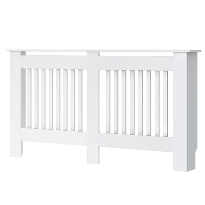 White Slatted Radiator Cover Wall Cabinet - 5 Size (Small/ Medium/ Large/ Extra Large/ Adjustable)