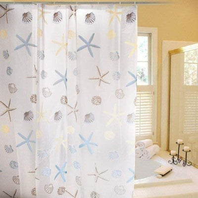 Waterproof Shower Curtain Sea Starfish and Shell Print for Bathroom