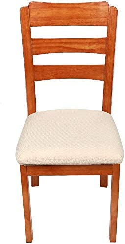 Beige Upholstered Stretch Dining Chair Seat Cushion Covers Jacquard Seat Cushion Protectors