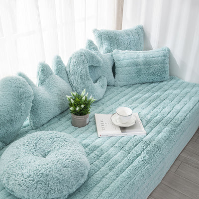 Blue Plush Bay Window Seat Pad European Style Thick Not-Slip Decorate Balcony And Bedroom Machine Washable
