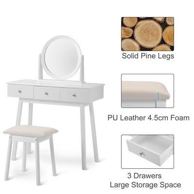 Contemporary White Dressing Table Set with Round Mirror 3 Drawers 90x40cm