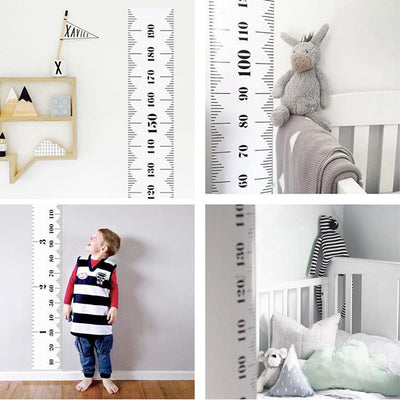 Simple Black&White 20X200cm Kids Growth Height Chart Child Height Measurement Wall Hanging Rulers Girls Boys Room Decoration